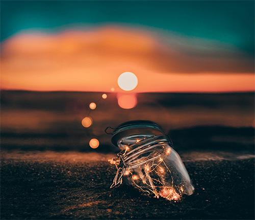 vaso luci sulla sabbia